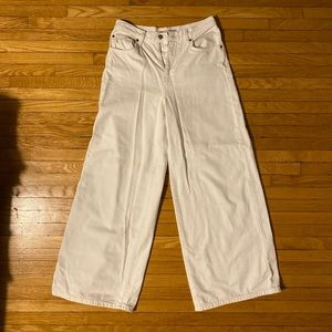 Wide leg 70s-style white denim